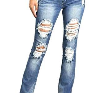 Machine Distressed Mom Jeans